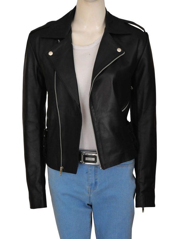 women black moto leather jacket, women fashion leather jacket,