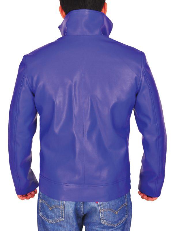 dashing blue leather jacket, cool blue leather jacket,