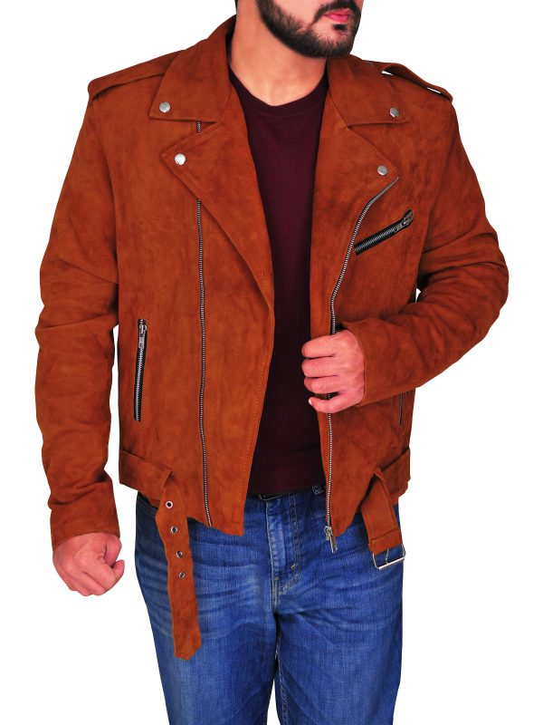 men brown suede leather jacket, brown suede leather jacket for men,