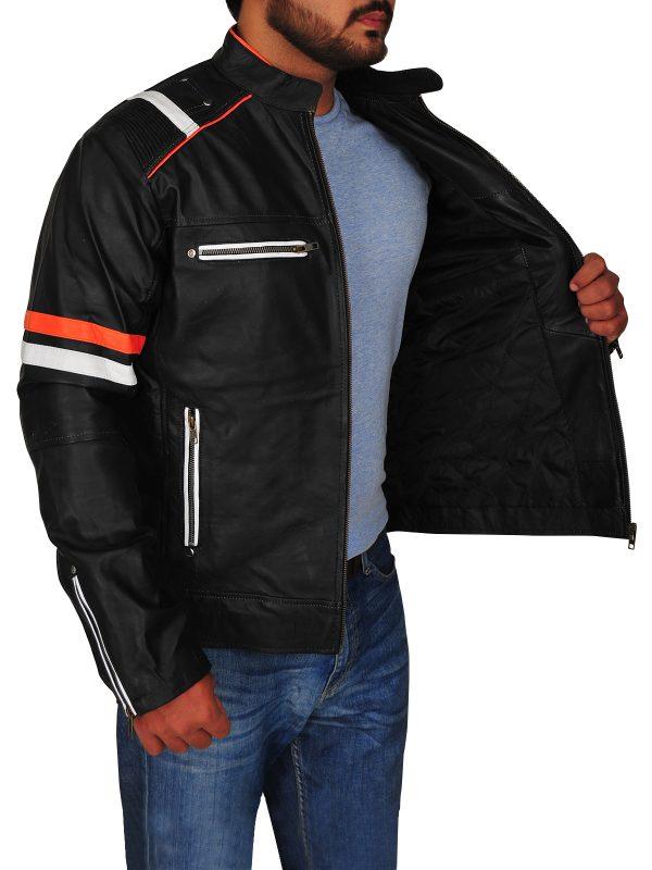 men's black biker jacket, men's black biker leather jacket,