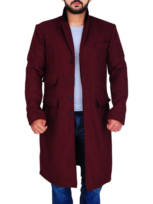 street style men maroon wool coat, dashing men wool coat,