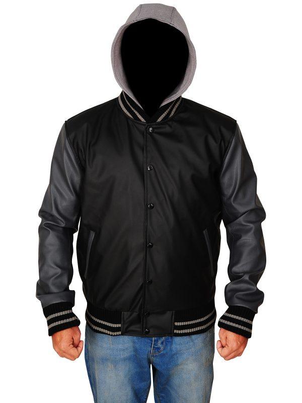 men leather hoodie jacket, trending varsity men jacket,