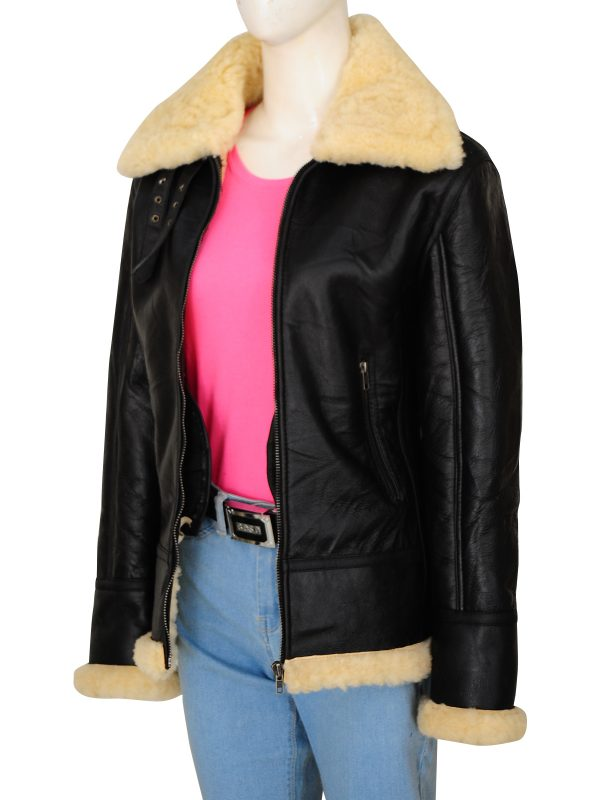 shearling collar leather jacket, fur collar women leather jacket,