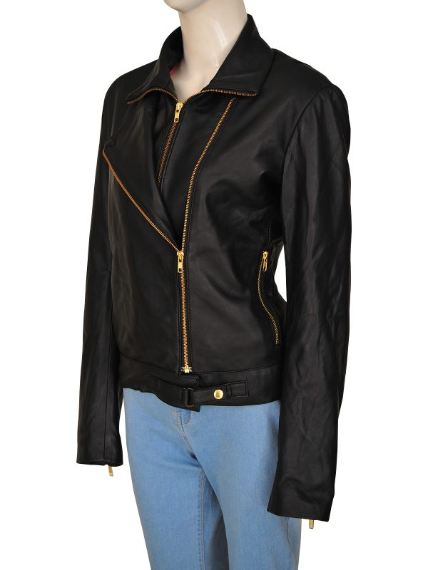 fashionable black leather jacket, casual black leather jacket for women,