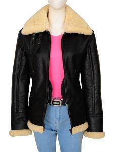 Women Black Shearling B3 Jacket