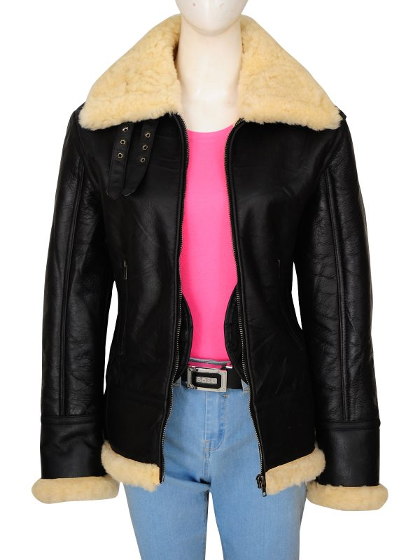 real fur b3 bomber women jacket, real fur collar shearling leather jacket,