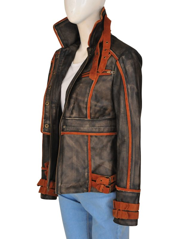 stylish brown distressed jacket, women brown real leather jacket,