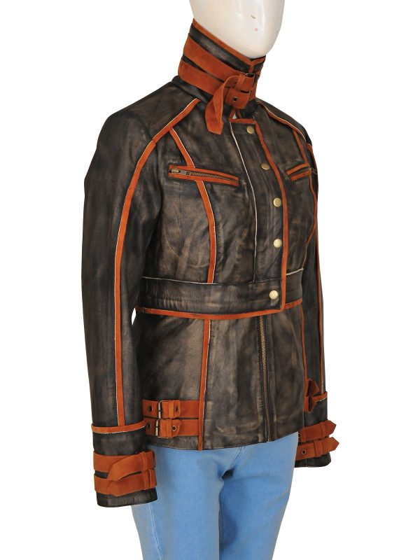 women rough brown leather jacket, fashionable brown women leather jacket,