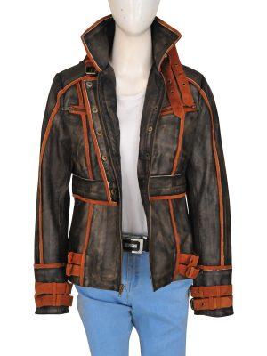 women ruff buff leather jacket, distrssed brown jacket for women,