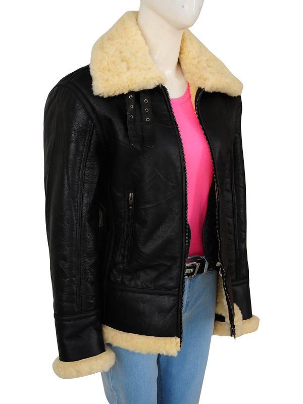 original shearling women leather jacket, women b3 bomber RAF leather jacket,