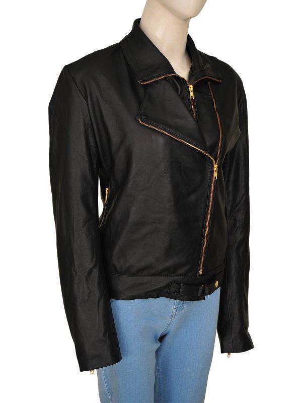 trending black leather jacket for women, women cool black leather jacket,