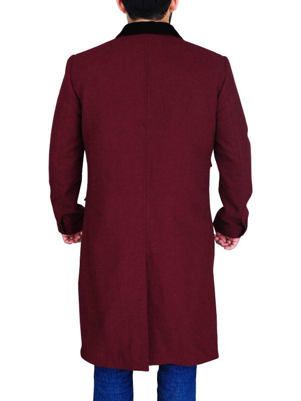 long maroon wool coat, maroon coat for men,