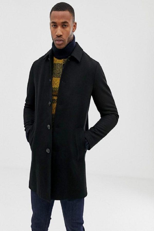 stylish men black long coat
