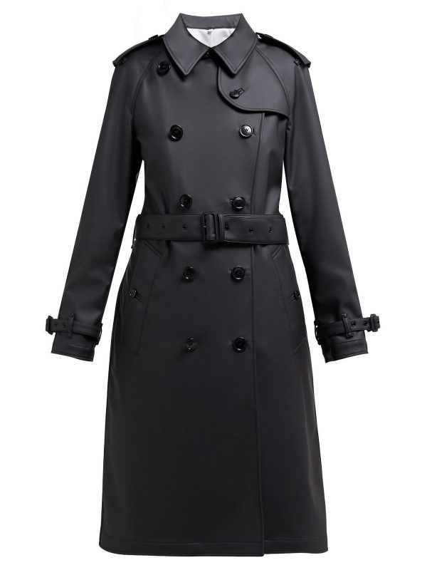 women black leather trench