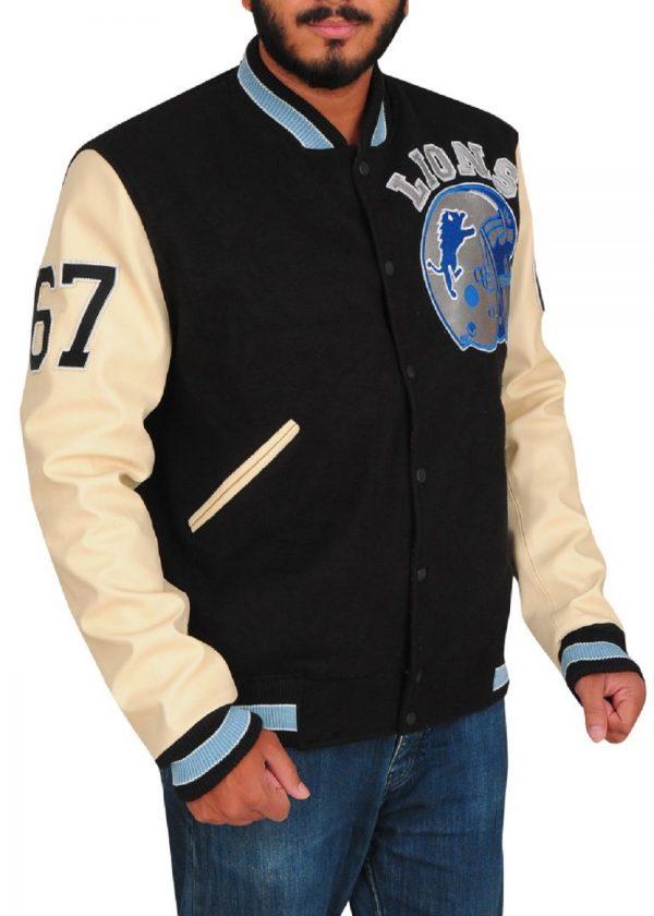 men off white varsity jacket