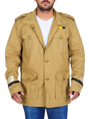 men brown army cotton jacket