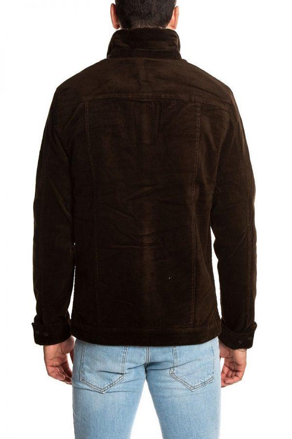 men brown wool and fur jacket