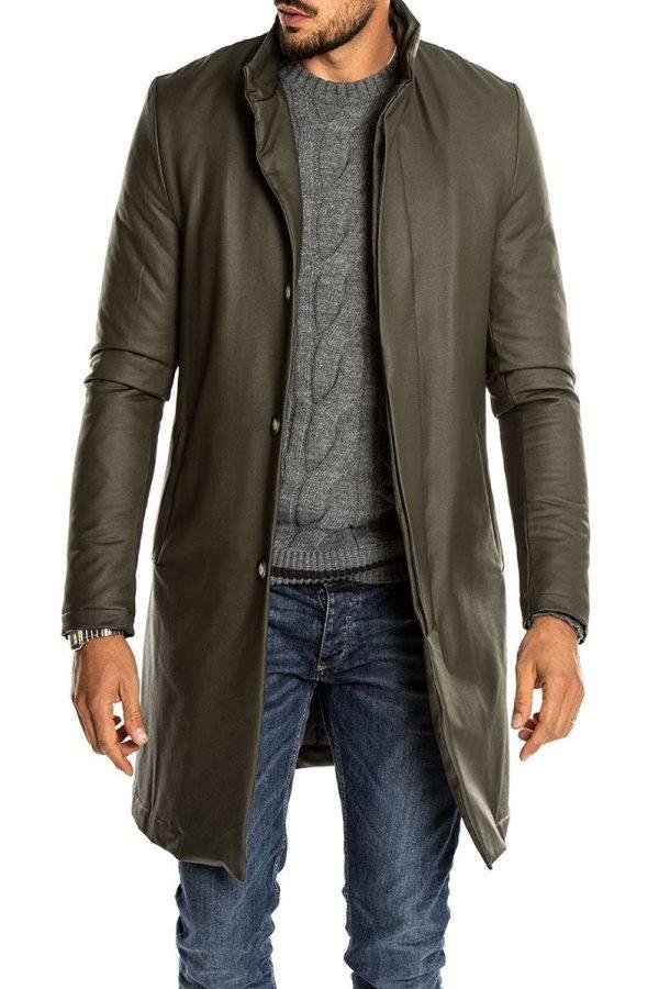 men green leather overcoat