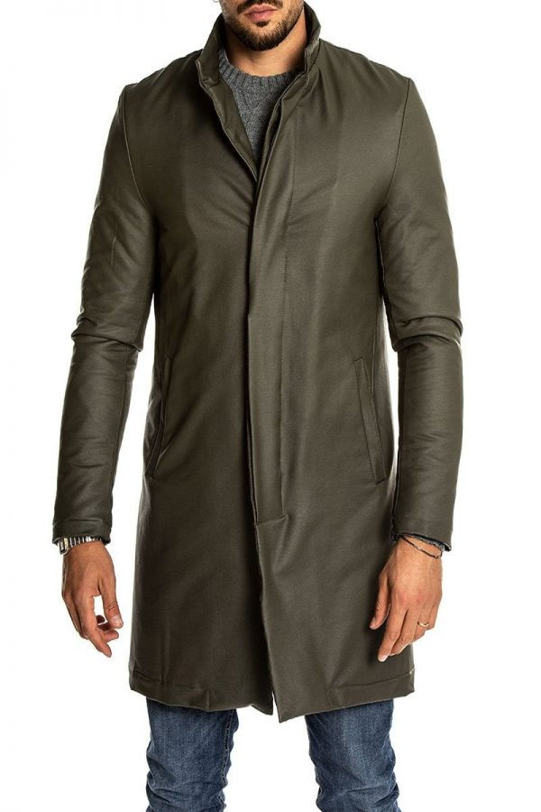 men army green leather overcoat