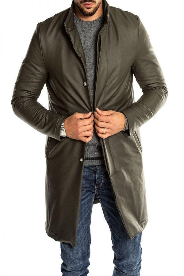 trending men green leather overcoat