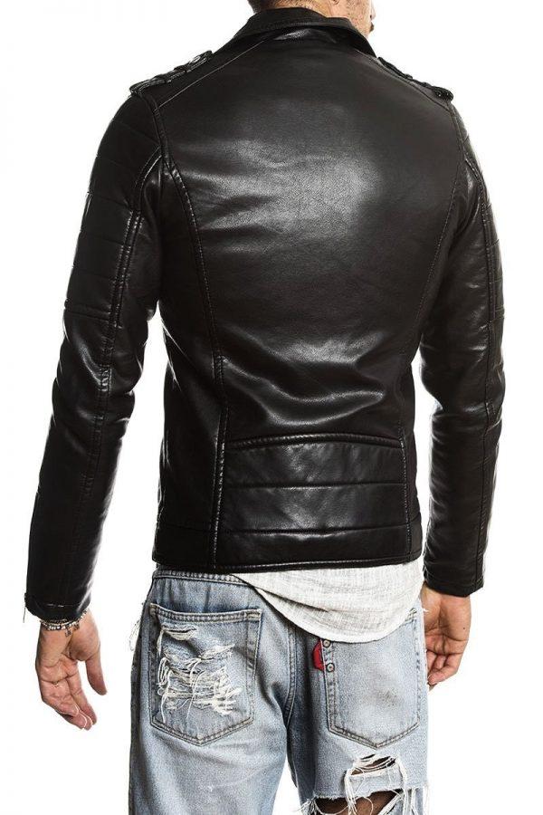 men raven black leather jacket