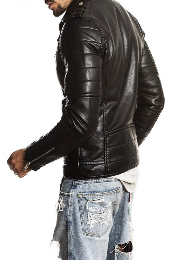 men black moto leather jacket