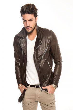 men pecan brown leather jacket