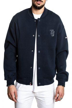 men blue fleece varsity jacket