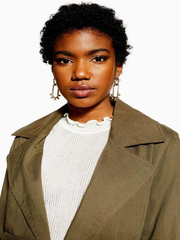 women khaki wool coat