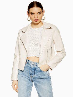 women white leather jacket
