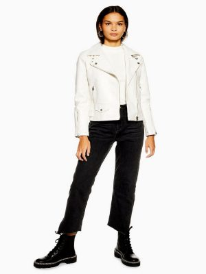 women white moto jacket