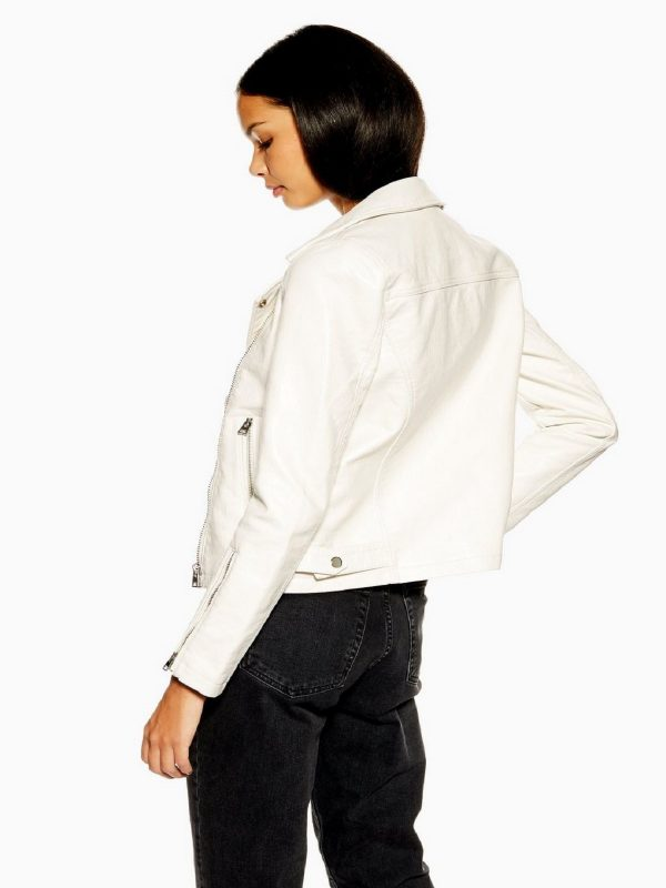 trending white leather jacket
