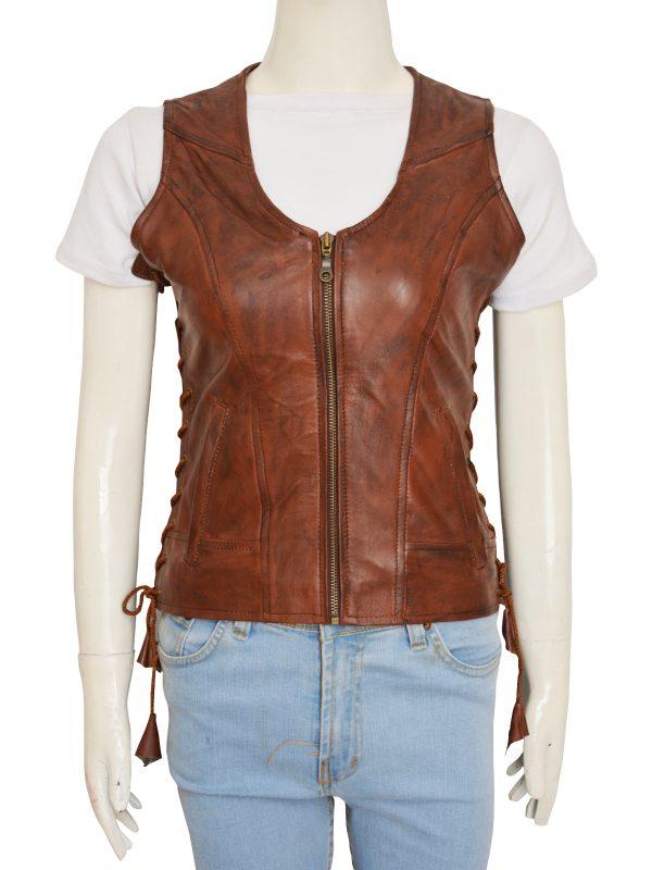 women stylish brown vest