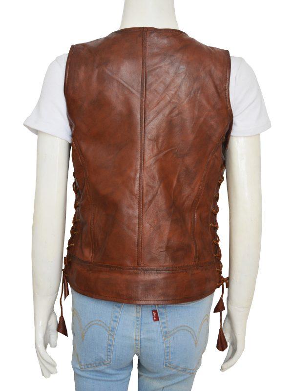 women brown leather vest