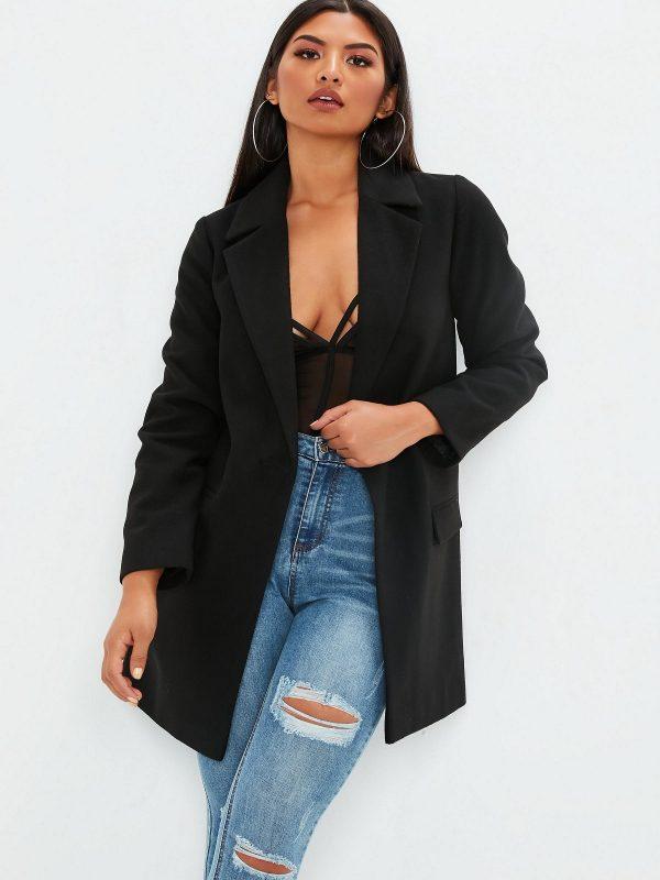 women black wool trench