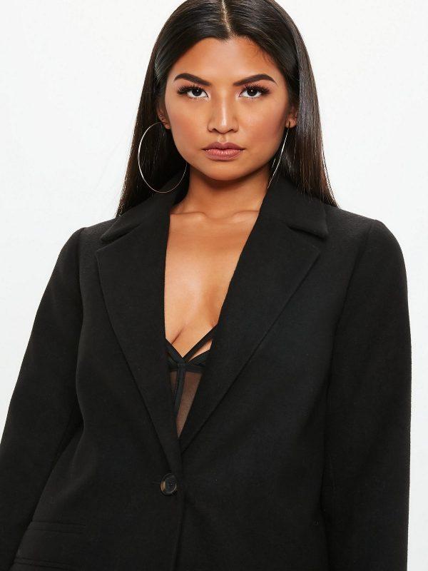 women black wool top coat
