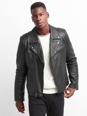 men true black leather jacket
