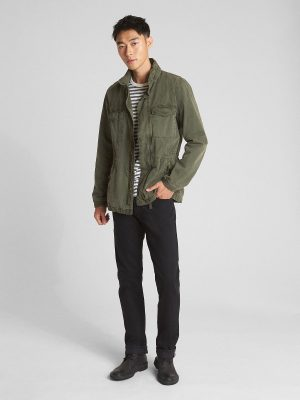 trending men green cotton jacket