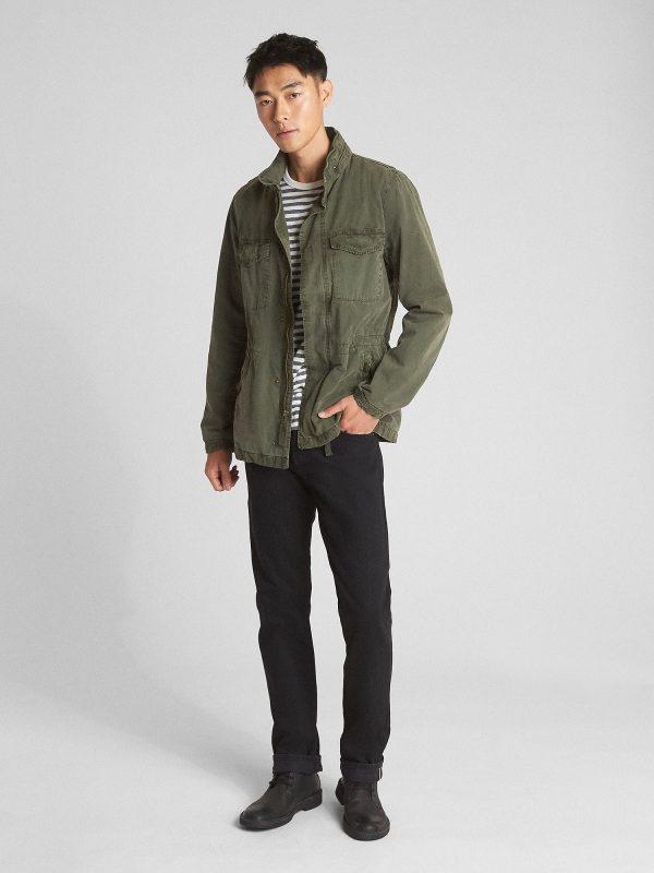 trending men green cotton jacket