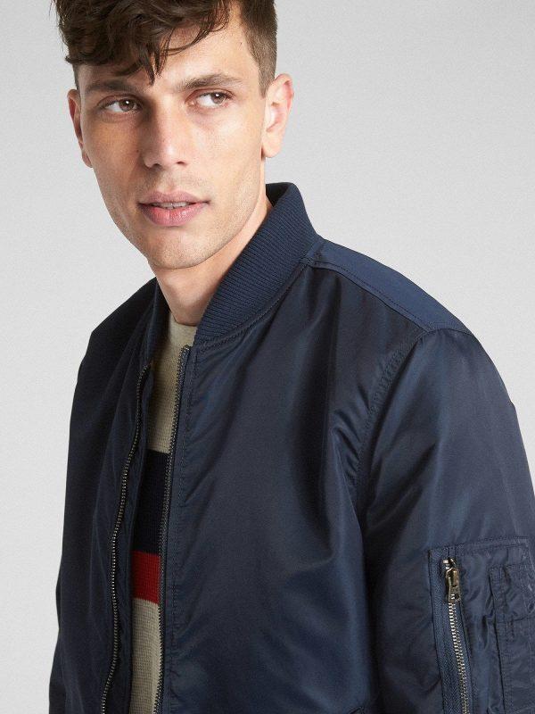 men navy blue leather varsity jacket