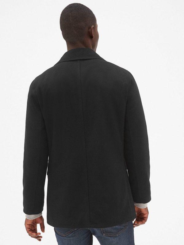 men black wool peacoat