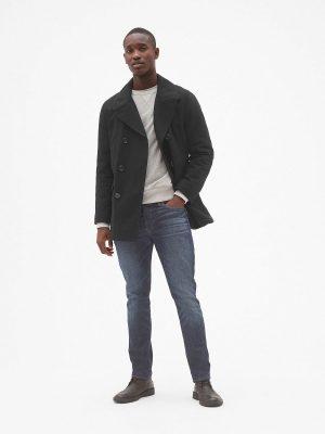 men black wool long coat
