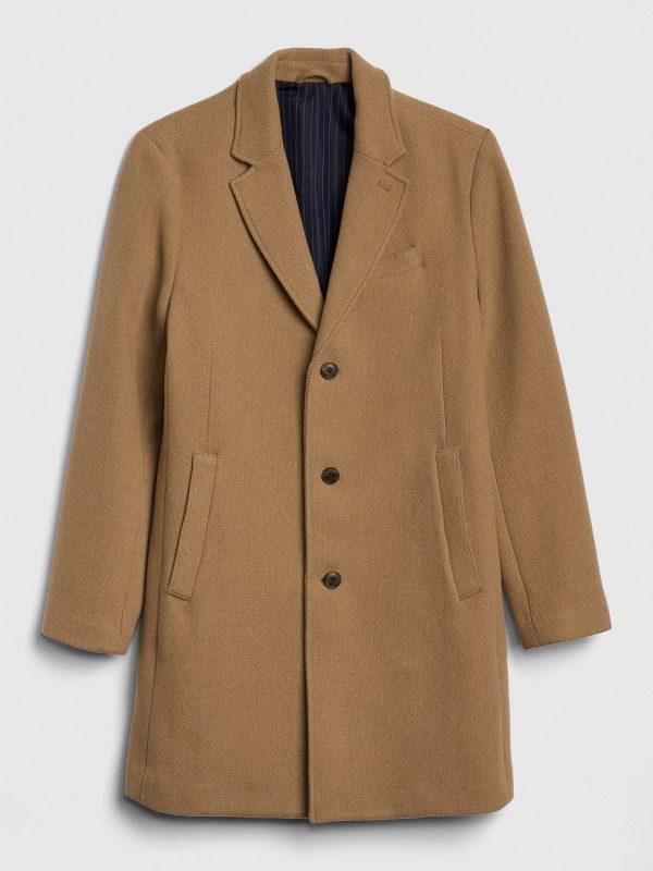 men brown wool long coat