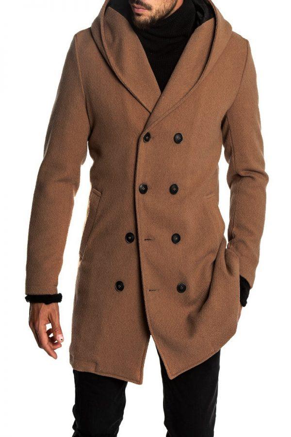 men brown woo long coat