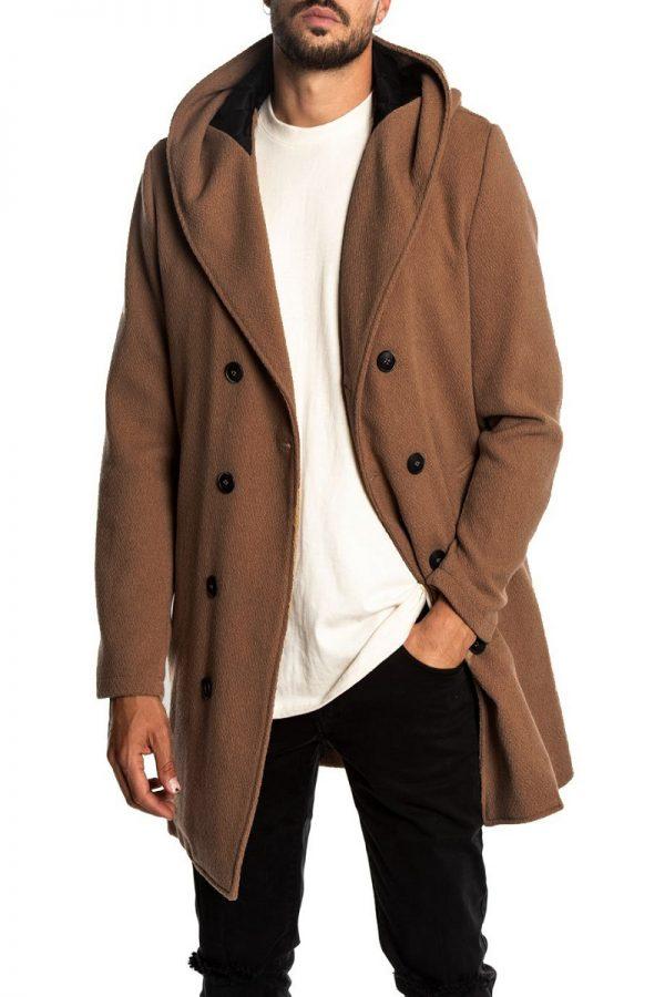 men brown double breasted wool coat