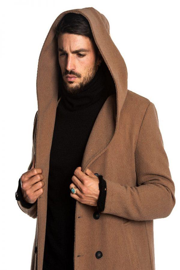 men brown coat with hoodie