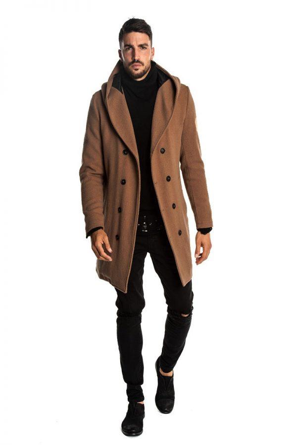 men urban brown wool coat