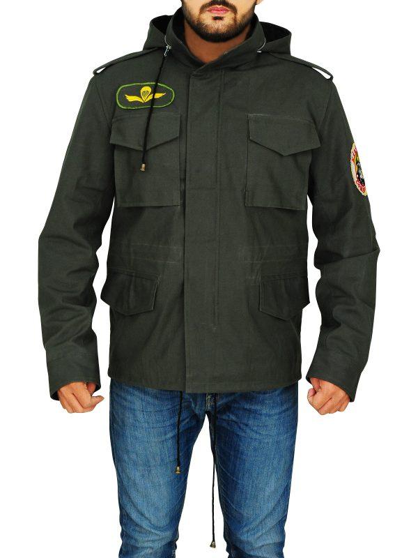 slim fit green cotton jacket, cotton jacket for men,