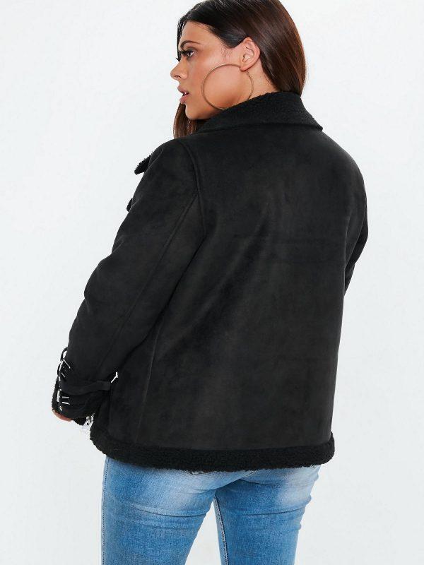 women aviator black leather jacket