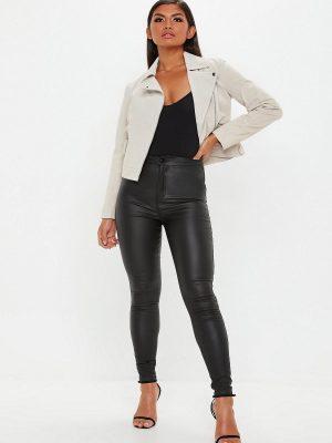 trending women white biker jacket